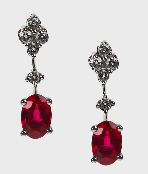 Brilliant Cut Oval Ruby And Diamond Drop Earrings