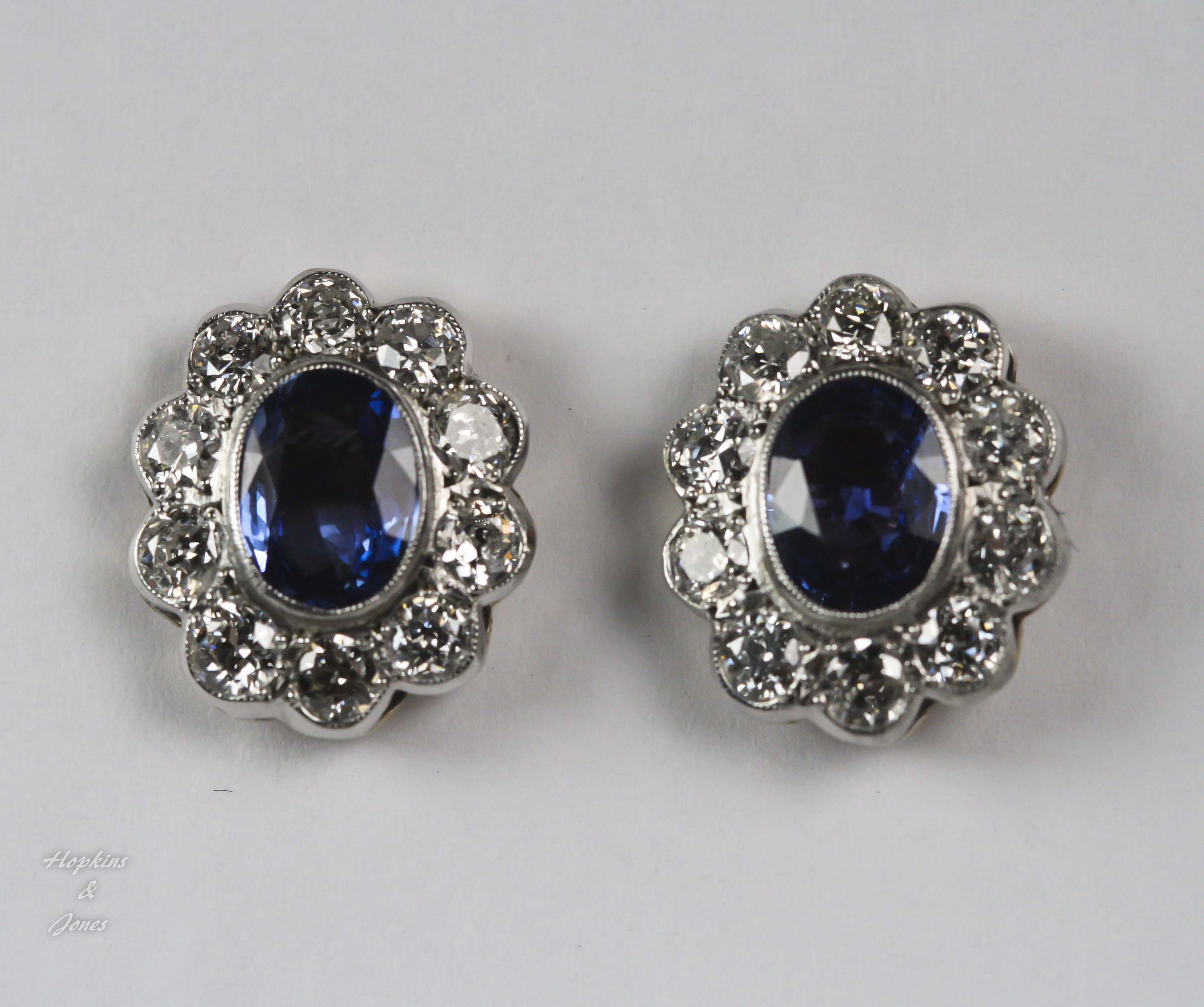 Sapphire & Diamond Cluster Earrings 4083