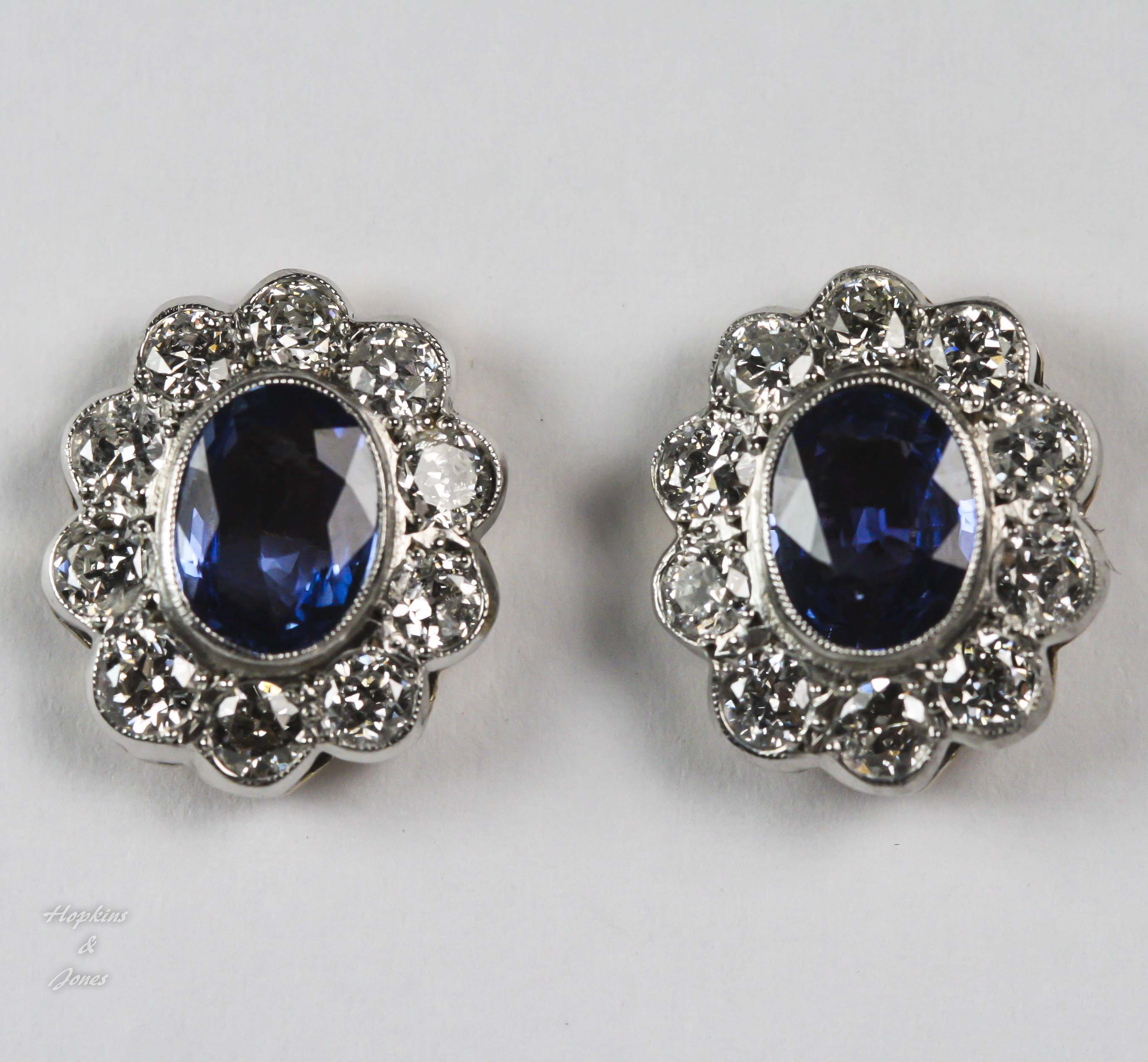 sapphire earrings with diamonds blue oval sapphire and cluster earrings 5681